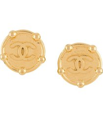 chanel pre-owned 1990s oversized cc earrings - gold