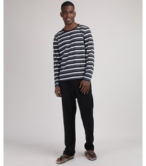 pijama masculino camiseta estampada listrada manga longa gola careca cinza mescla escuro