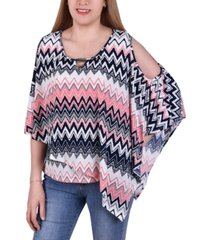 ny collection petite asymmetric printed poncho top