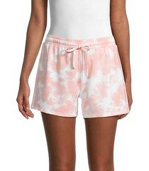 pure navy women's tie-dye shorts - pink white - size s