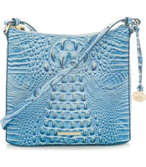 brahmin katie croc embossed leather crossbody bag - blue