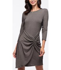 blu pepper twist-front ribbed knit tulip dress