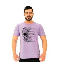 camiseta mxd conceito caveira partículas destruídas masculina