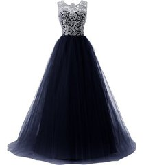 blevla a-line straps lace bodice prom dress long tulle formal gowns navy us 16