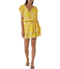 women's melissa odabash keri cover-up dress, size medium - yellow
