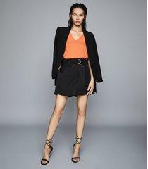 reiss chris - v-neck sleeveless t-shirt in orange, womens, size xxl