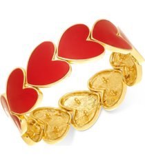holiday lane gold-tone red heart stretch bracelet, created for macy's