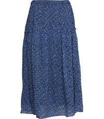 d2. printed chiffon skirt knälång kjol blå gant