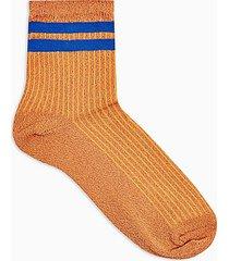 rust glitter sport stripe socks - rust