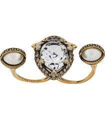 alexander mcqueen crystal embellished double ring - gold