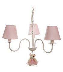 lustre 3l simples com ursinha potinho de mel rosa