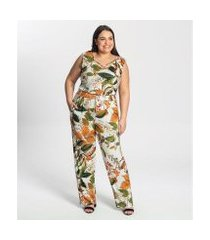macacão plus size estampado secret glam plus feminino