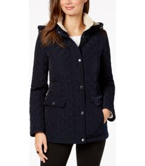laundry by shelli segal petite fleece-lined hooded coat