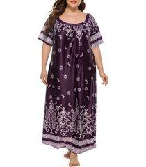plus size paisley print raglan sleeve maxi dress