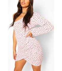 ditsy floral rib one shoulder mini dress, pink
