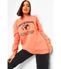 plus oversized universal hoodie met tekst, orange