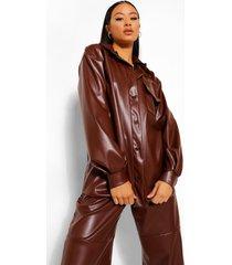 tall nepleren oversized pu blouse, chocolate