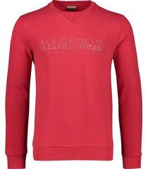 napapijri sweater ronde hals katoen stretch rood