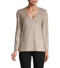 brielle metallic wool-blend pullover