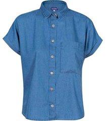 camisa en denim manga corta lavado medio para mujer freedom 01021