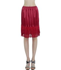 [shop lev] double layered satin skirt extender / half slip (red, small)