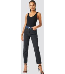 trendyol color blocky high waist mom jeans - black