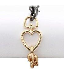 pulseira corrente ping coracao cadeado dourado 151299 - feminino