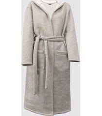 robe roupao longo neoprene mescla com capuz e bolsos