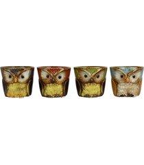 mini vaso coruja jg c/ 4 - multicolorido - dafiti