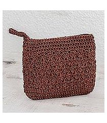 crocheted cosmetic bag, 'margarita texture in redwood' (guatemala)