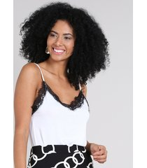 regata feminina slip top com renda decote v off white