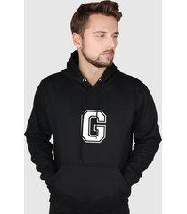 blusa moletom flanelado fechado suffix moleton preto capuz e bolso estampa letra g - preto - masculino - poliã©ster - dafiti