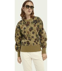 scotch & soda floral balloon-sleeved sweater