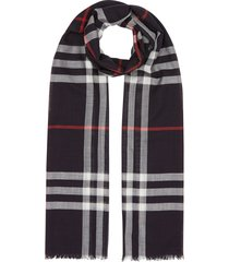 burberry lightweight check wool silk scarf - brown