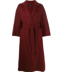 arma wool belted wrap coat - red