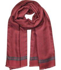laura biagiotti designer men's scarves, burgundy printed silk and wool reverisble men's scarf w/fringes