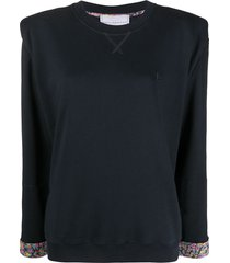 philosophy di lorenzo serafini shoulder pad cotton sweatshirt - blue