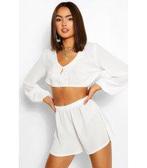 woven button detail blouson top & shorts co-ord, white