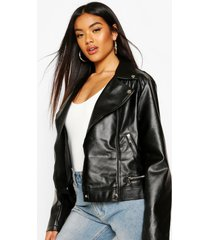 faux leather biker jacket with quilt detail, black