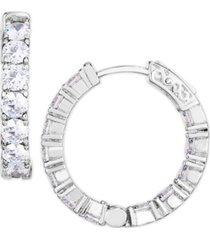 cubic zirconia medium hoop earrings in fine silver plate
