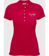 polo de corte slim logo bordado rosado tommy hilfiger