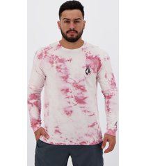 camiseta volcom deadly stone manga longa branca e vermelha