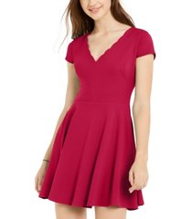 b darlin juniors' pleated-skirt fit & flare dress