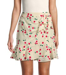 cherry-print silk mini skirt