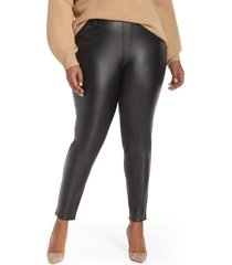 plus size women's seven7 sweetheart coated pull-on pants, size 3x - black