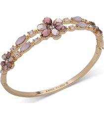 anne klein gold-tone crystal & stone flower bangle bracelet