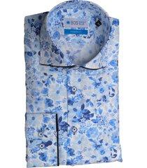 bos bright blue blue overhemd blauw bloemenprint bos 5-02/18 licht blauw