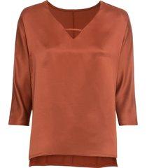 maglia a maniche lunghe con satin (marrone) - bodyflirt