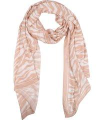 women's rebecca minkoff zebra print long scarf, size one size - coral