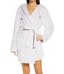 women's honeydew intimates winter night hooded fleece short robe, size medium/large - purple